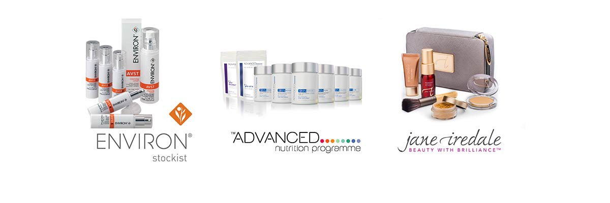 group of beauty products from Environ, Jane Iredale and Advanced Nutrition Program
