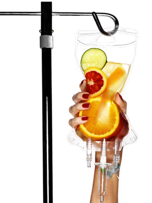 Medical drip with fruit when the fluid should be