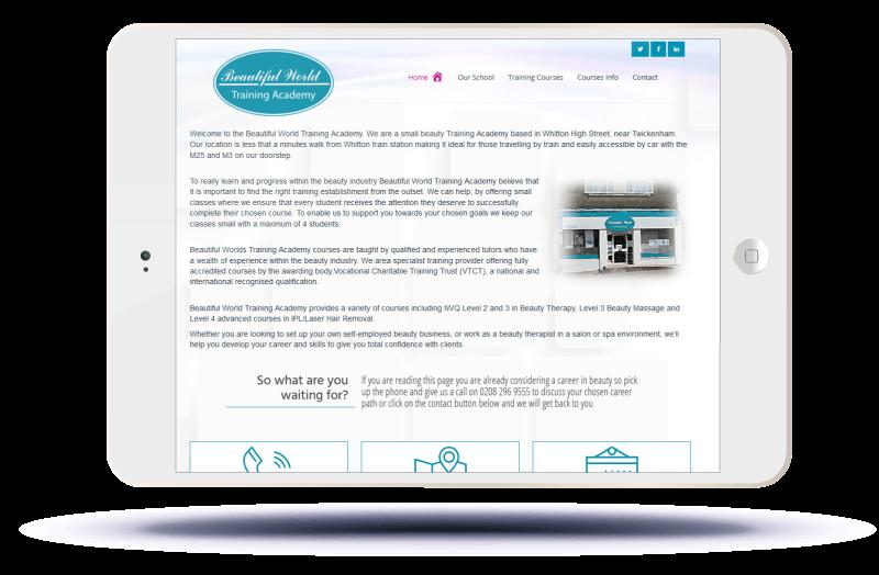 Beautiful World Training Academy Website viewed on ipad